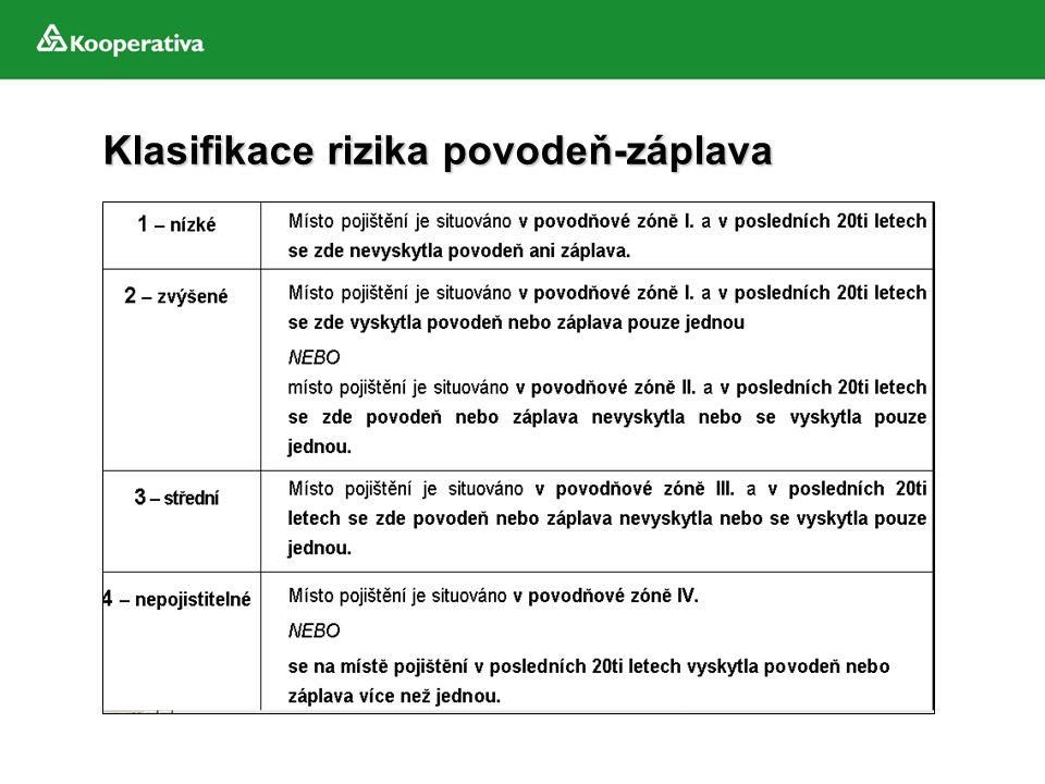 Klasifikace rizika povodeň-záplava Klasifikace rizika povodeň-záplava