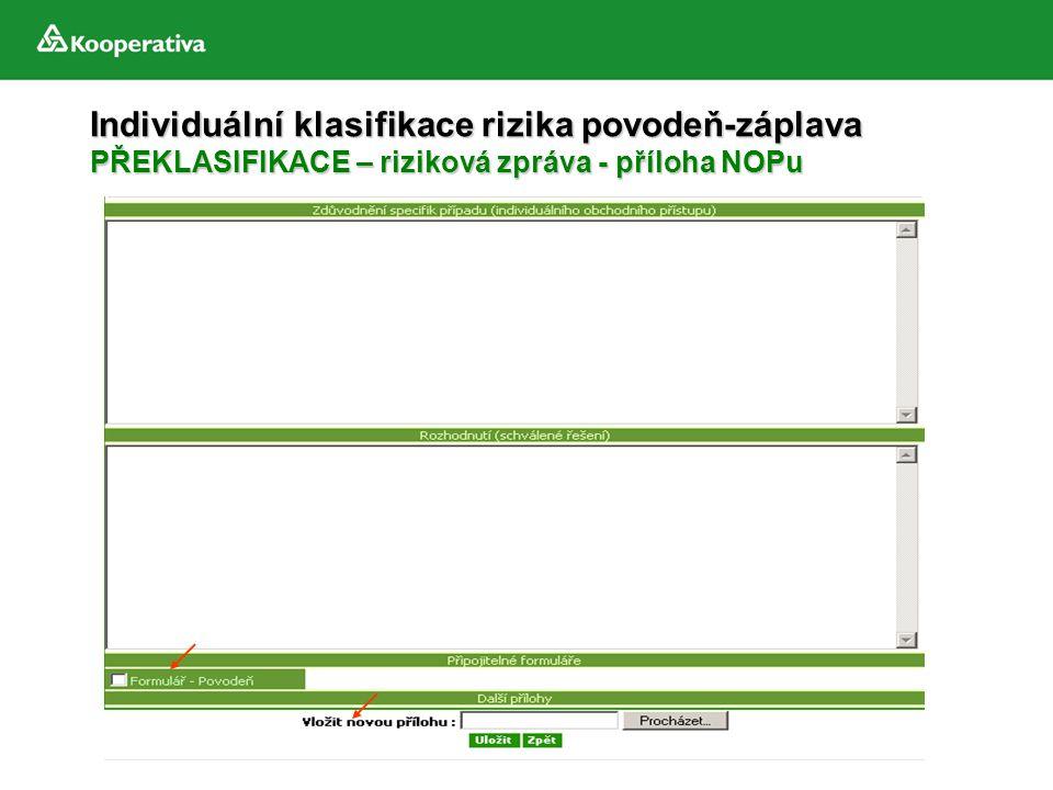 Individuální klasifikace rizika povodeň-záplava PŘEKLASIFIKACE – riziková zpráva - příloha NOPu