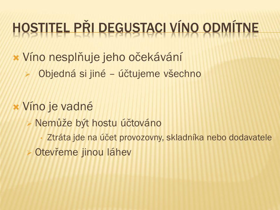  Víno nesplňuje jeho očekávání  Objedná si jiné – účtujeme všechno  Víno je vadné  Nemůže být hostu účtováno Ztráta jde na účet provozovny, skladníka nebo dodavatele  Otevřeme jinou láhev