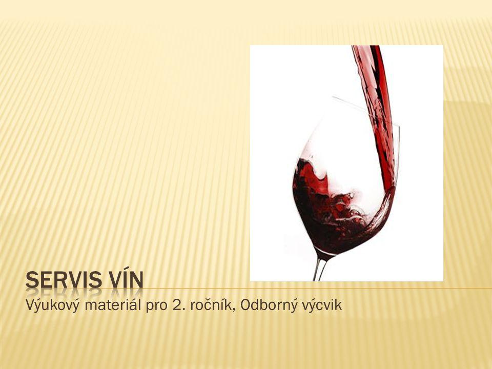  Víno podáváme vždy před jídlem  Nejdříve podáváme mladá potom starší vína  Víno servírujeme v pořadí bílé, růžové, červené  Podle zbytkového cukru podáváme vína v pořadí suchá, polosuchá, polosladká, sladká