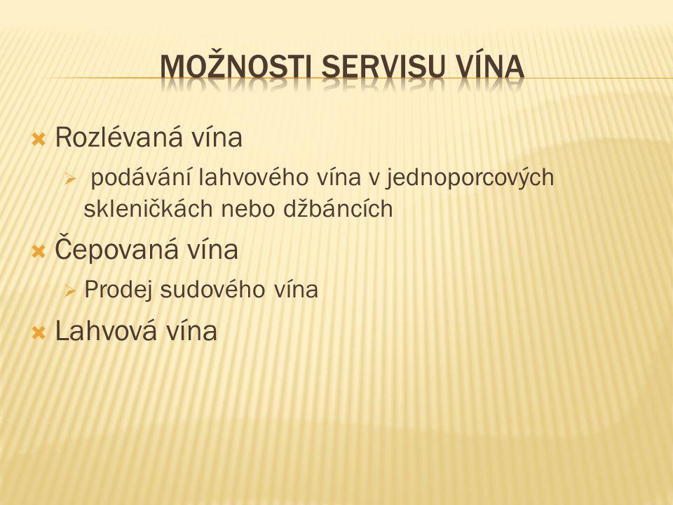  Rozlévaná vína  podávání lahvového vína v jednoporcových skleničkách nebo džbáncích  Čepovaná vína  Prodej sudového vína  Lahvová vína