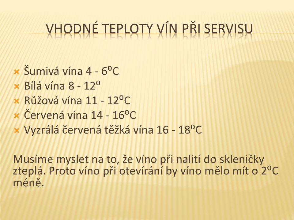  Šumivá vína 4 - 6⁰C  Bílá vína 8 - 12⁰  Růžová vína 11 - 12⁰C  Červená vína 14 - 16⁰C  Vyzrálá červená těžká vína 16 - 18⁰C Musíme myslet na to, že víno při nalití do skleničky zteplá.