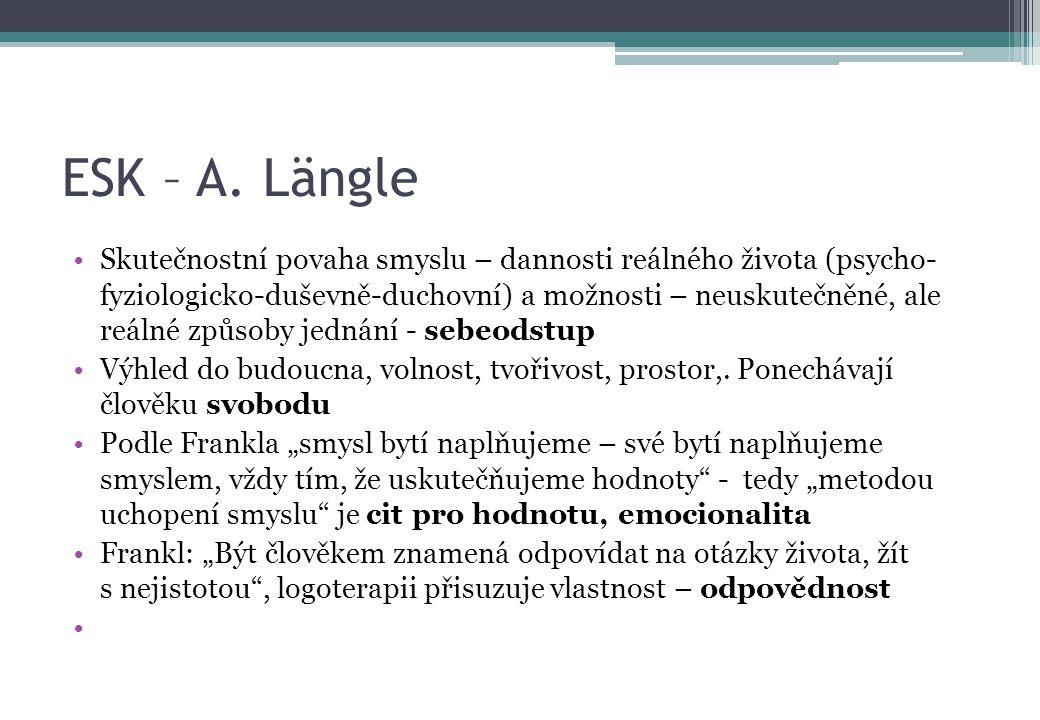 ESK – A. Längle Skutečnostní povaha smyslu – dannosti reálného života (psycho- fyziologicko-duševně-duchovní) a možnosti – neuskutečněné, ale reálné z