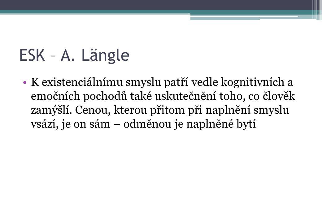 ESK – A. Längle K existenciálnímu smyslu patří vedle kognitivních a emočních pochodů také uskutečnění toho, co člověk zamýšlí. Cenou, kterou přitom př