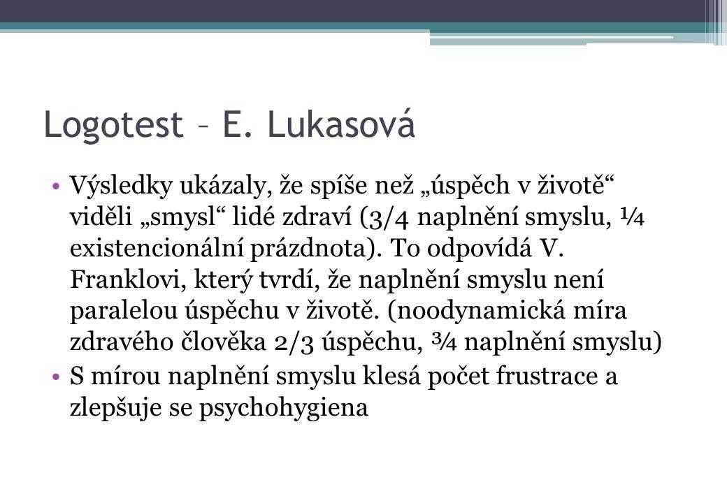 """Logotest – E. Lukasová Výsledky ukázaly, že spíše než """"úspěch v životě"""" viděli """"smysl"""" lidé zdraví (3/4 naplnění smyslu, ¼ existencionální prázdnota)."""