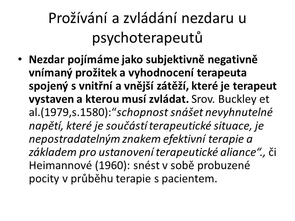 Dvě dimenze nezdaru 1)vnější – objektivizovatelná rovina vnějších kriterií – nedosažení dohodnutého cíle terapie, požadované změny, (ne)odstranění symptomu, zhoršení klientova stavu v důsledku terapie, opakování typických chyb, špatná diagnostická rozvaha, dropouts…(Fiester a Rudestam 1975, Baekeland a Lundwall 1975, Pekarik 1985, Wierzbicky a Pekarik 1993, Pulford, Adams a Sheridan 2007, Buckley, Karasu a Charles 1979, Spitz, Kass a Charles 1980