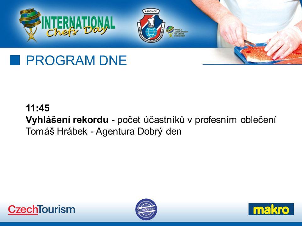 PROGRAM DNE 11:45 Vyhlášení rekordu - počet účastníků v profesním oblečení Tomáš Hrábek - Agentura Dobrý den