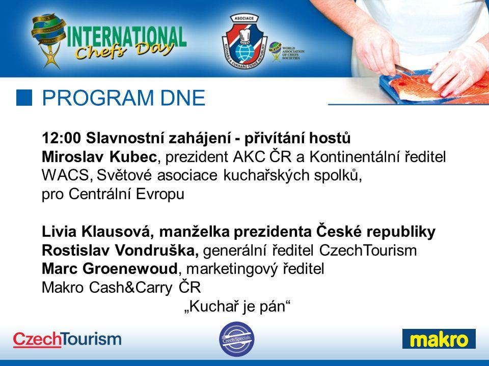 PROGRAM DNE 12:00 Slavnostní zahájení - přivítání hostů Miroslav Kubec, prezident AKC ČR a Kontinentální ředitel WACS, Světové asociace kuchařských sp