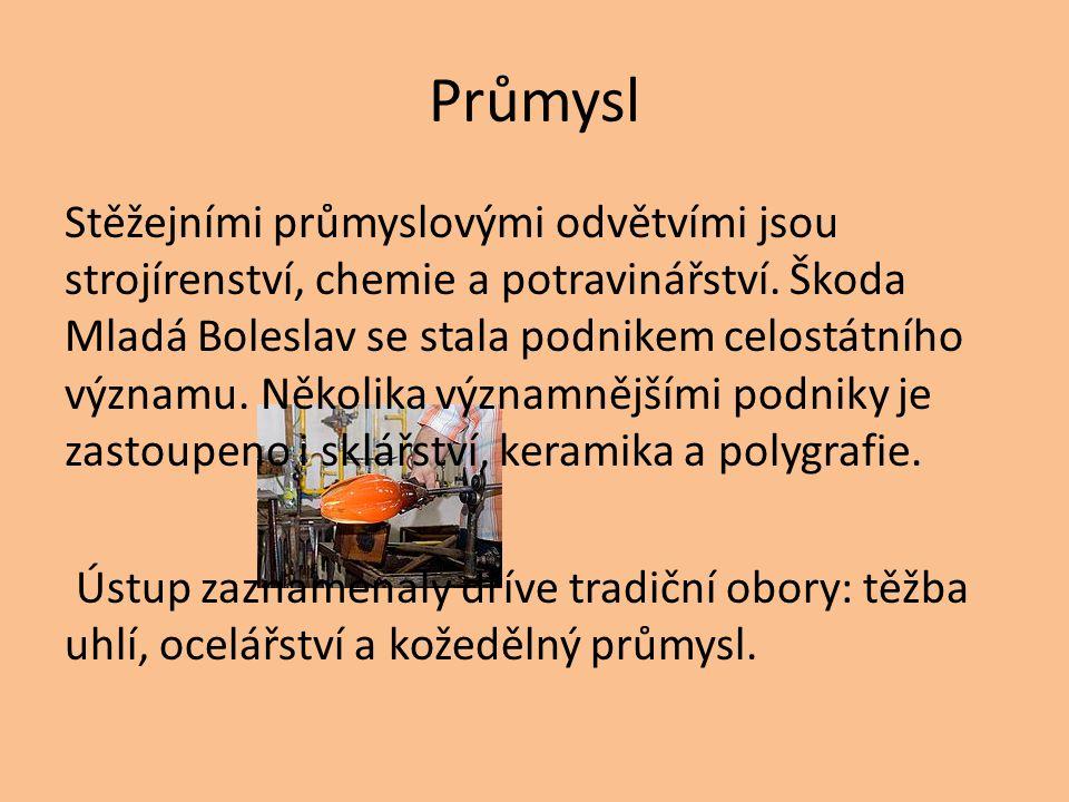 Průmysl Stěžejními průmyslovými odvětvími jsou strojírenství, chemie a potravinářství. Škoda Mladá Boleslav se stala podnikem celostátního významu. Ně
