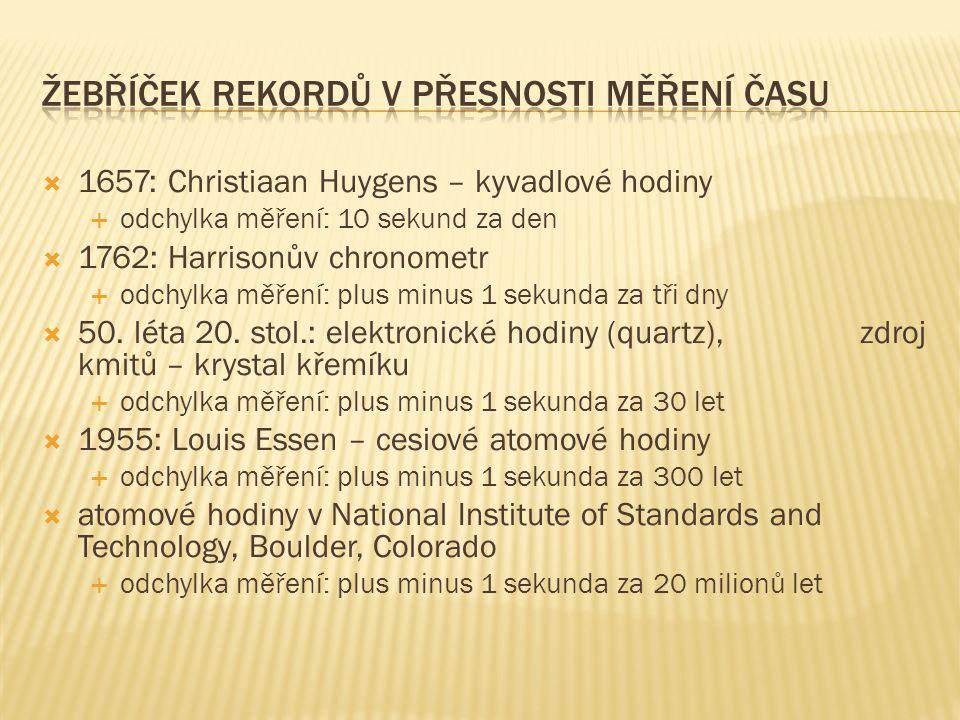  1657: Christiaan Huygens – kyvadlové hodiny  odchylka měření: 10 sekund za den  1762: Harrisonův chronometr  odchylka měření: plus minus 1 sekund