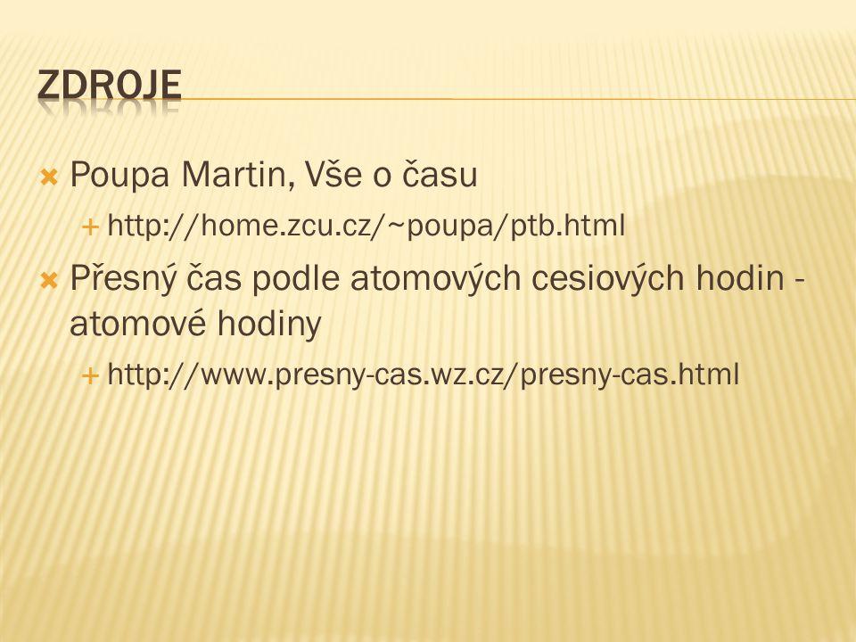  Poupa Martin, Vše o času  http://home.zcu.cz/~poupa/ptb.html  Přesný čas podle atomových cesiových hodin - atomové hodiny  http://www.presny-cas.