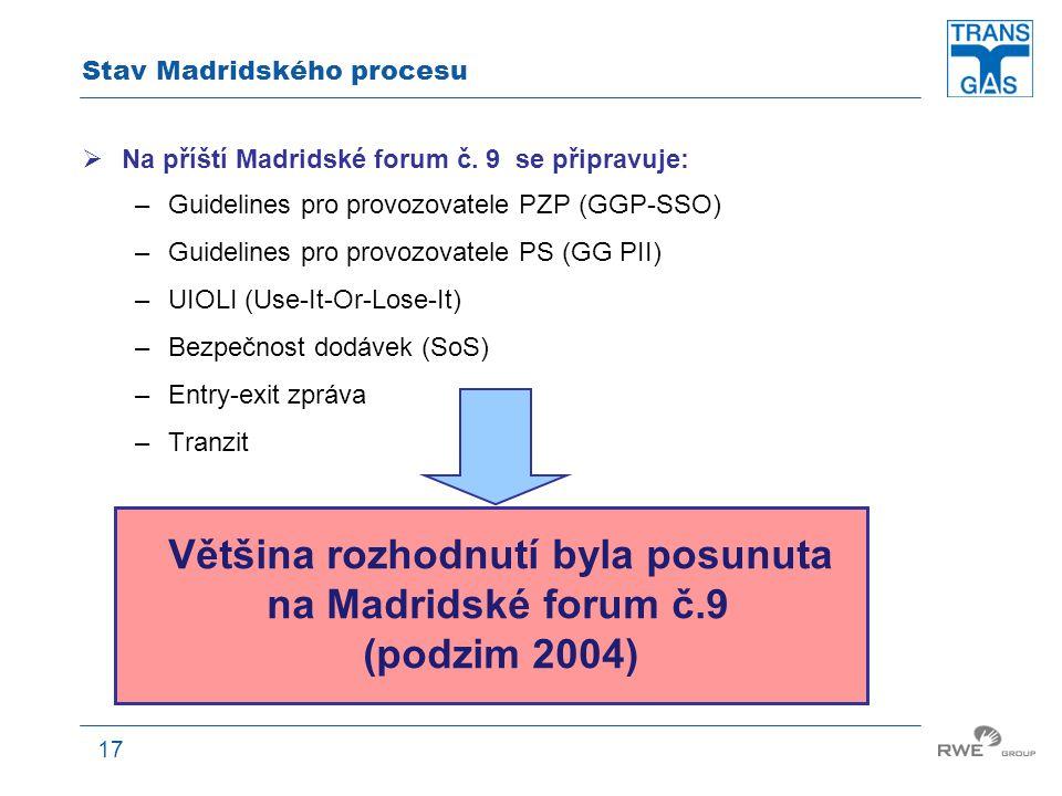 17 Stav Madridského procesu  Na příští Madridské forum č. 9 se připravuje: –Guidelines pro provozovatele PZP (GGP-SSO) –Guidelines pro provozovatele