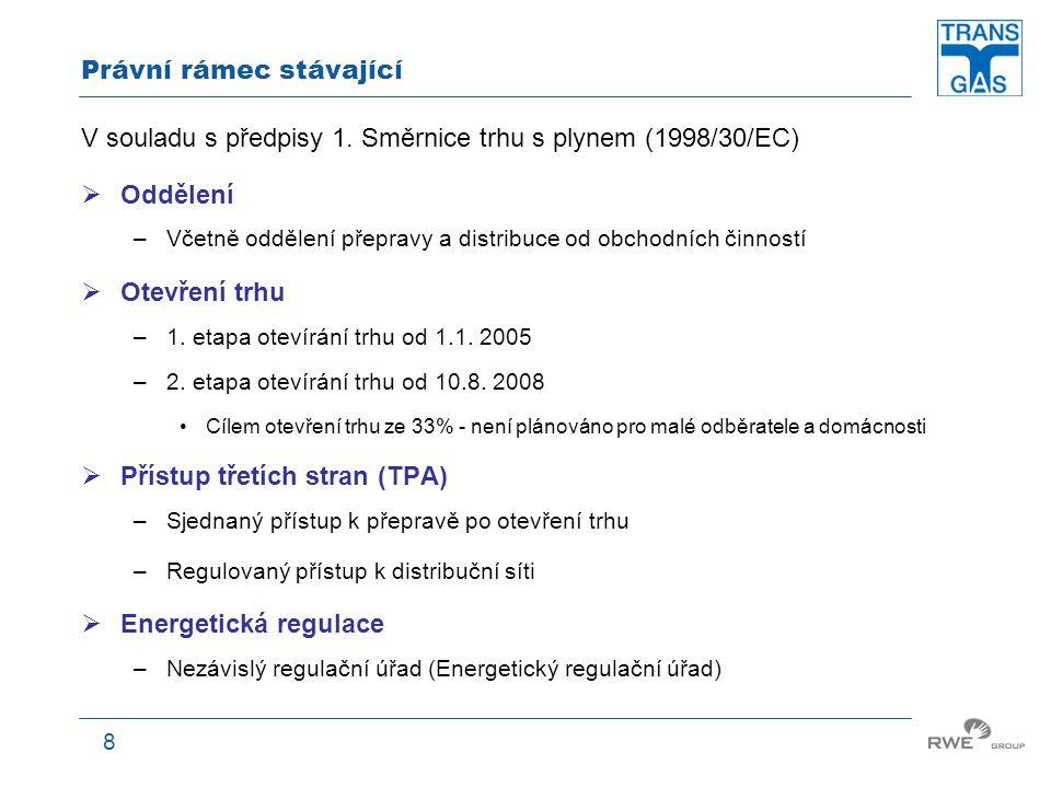 8 Právní rámec stávající V souladu s předpisy 1. Směrnice trhu s plynem (1998/30/EC)  Oddělení –Včetně oddělení přepravy a distribuce od obchodních č