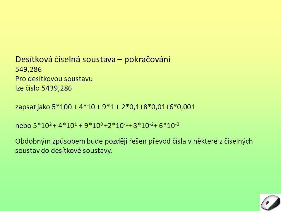 Desítková číselná soustava – pokračování 549,286 Pro desítkovou soustavu lze číslo 5439,286 zapsat jako 5*100 + 4*10 + 9*1 + 2*0,1+8*0,01+6*0,001 nebo