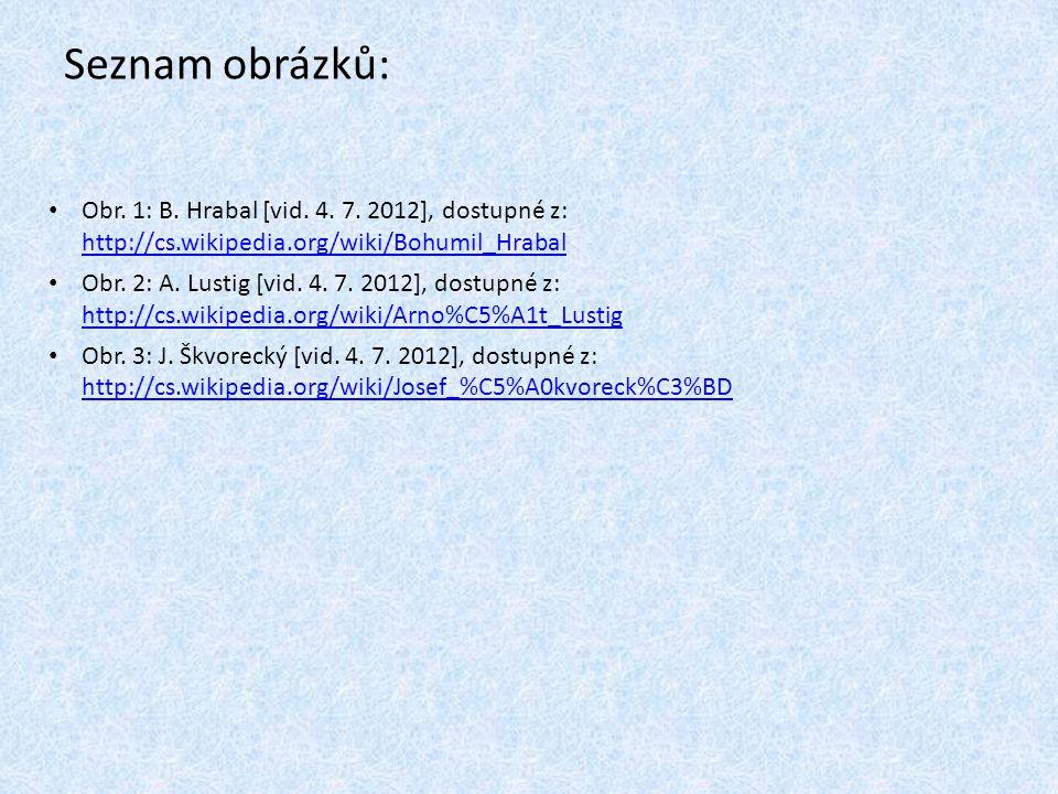 Seznam obrázků: Obr. 1: B. Hrabal [vid. 4. 7. 2012], dostupné z: http://cs.wikipedia.org/wiki/Bohumil_Hrabal http://cs.wikipedia.org/wiki/Bohumil_Hrab