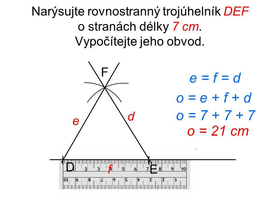 Narýsujte trojúhelník KLM o stranách /KL/ = 8 cm, /KM/ = 5 cm, /LM/ = 7 cm. Vypočítejte jeho obvod. L K M o = k + l + m m k l o = 7 + 5 + 8 o = 20 cm