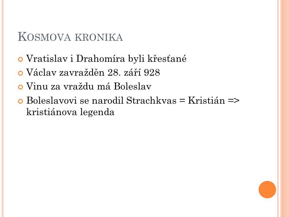 K OSMOVA KRONIKA Vratislav i Drahomíra byli křesťané Václav zavražděn 28. září 928 Vinu za vraždu má Boleslav Boleslavovi se narodil Strachkvas = Kris