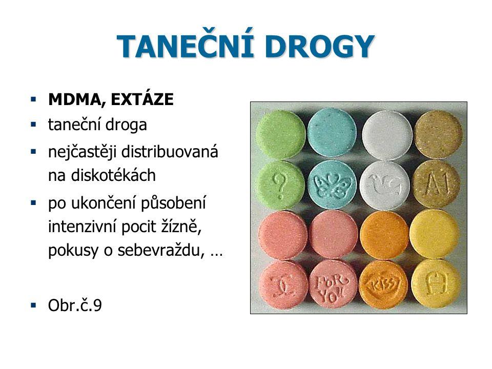 TANEČNÍ DROGY  MDMA, EXTÁZE  taneční droga  nejčastěji distribuovaná na diskotékách  po ukončení působení intenzivní pocit žízně, pokusy o sebevra