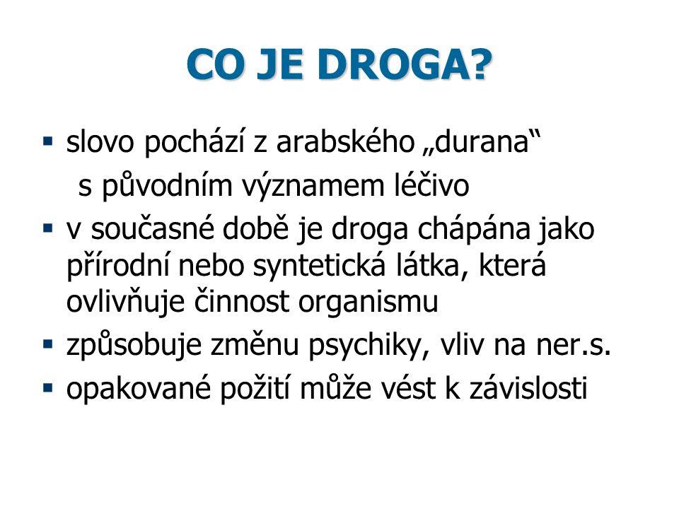 """CO JE DROGA?  slovo pochází z arabského """"durana"""" s původním významem léčivo  v současné době je droga chápána jako přírodní nebo syntetická látka, k"""
