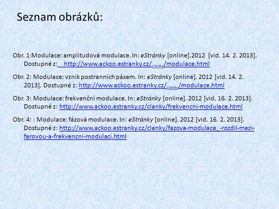 Seznam obrázků: Obr.1:Modulace: amplitudová modulace.