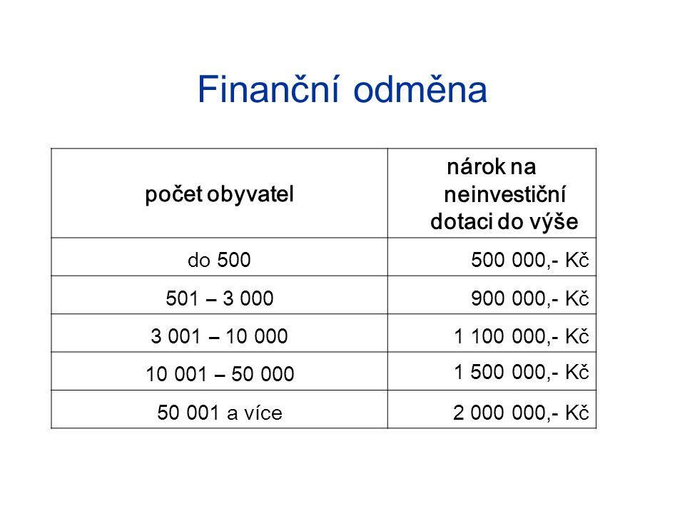 Finanční odměna počet obyvatel nárok na neinvestiční dotaci do výše do 500500 000,- Kč 501 – 3 000900 000,- Kč 3 001 – 10 0001 100 000,- Kč 10 001 – 50 000 1 500 000,- Kč 50 001 a více2 000 000,- Kč