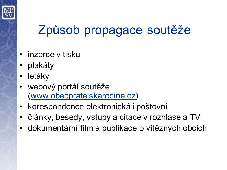 Způsob propagace soutěže i nzerce v tisku p lakáty l etáky w ebový portál soutěže (www.obecpratelskarodine.cz) k orespondence elektronická i poštovní
