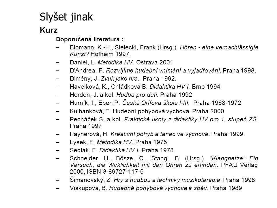 Kurz Doporučená literatura : –Blomann, K.-H., Sielecki, Frank (Hrsg.). Hören - eine vernachlässigte Kunst? Hofheim 1997. –Daniel, L. Metodika HV. Ostr