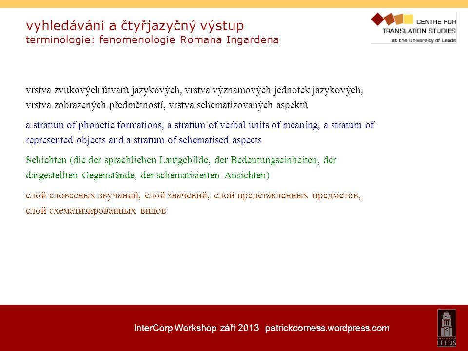 InterCorp Workshop září 2013 patrickcorness.wordpress.com vyhledávání a čtyřjazyčný výstup terminologie: fenomenologie Romana Ingardena vrstva zvukový