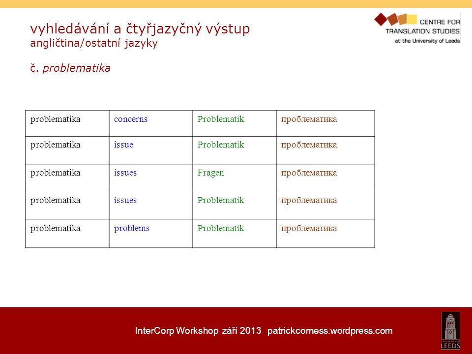InterCorp Workshop září 2013 patrickcorness.wordpress.com vyhledávání a čtyřjazyčný výstup angličtina/ostatní jazyky č. problematika concernsProblemat
