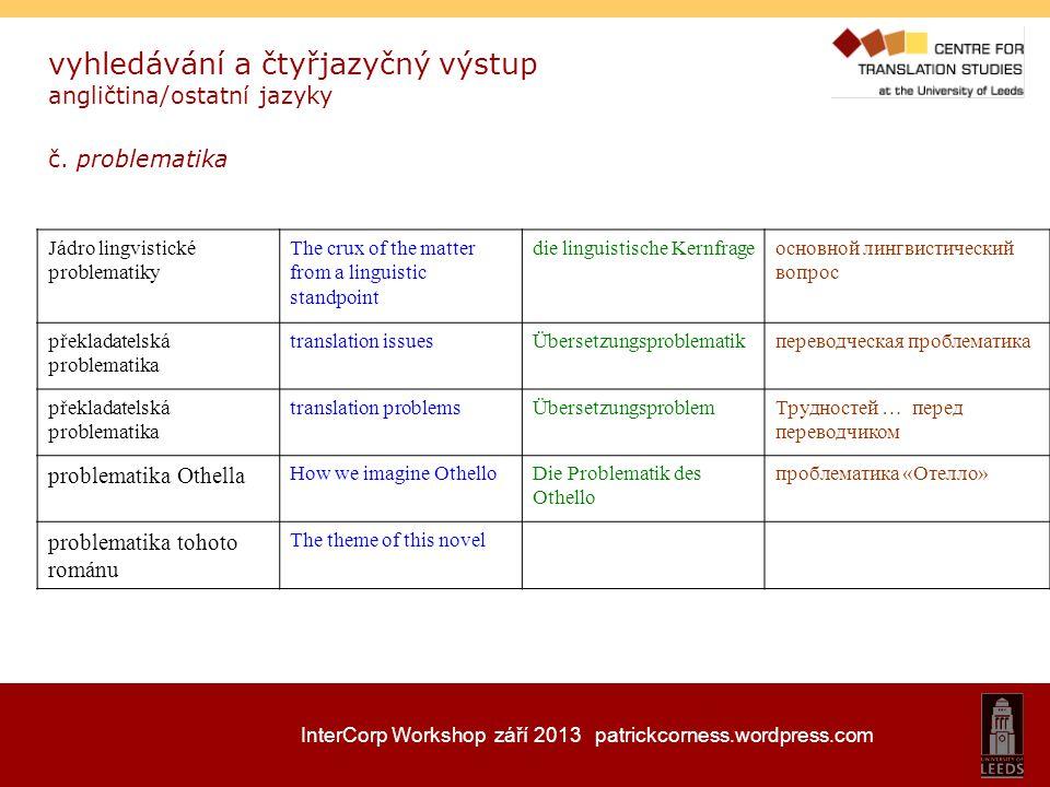 InterCorp Workshop září 2013 patrickcorness.wordpress.com vyhledávání a čtyřjazyčný výstup angličtina/ostatní jazyky č. problematika Jádro lingvistick
