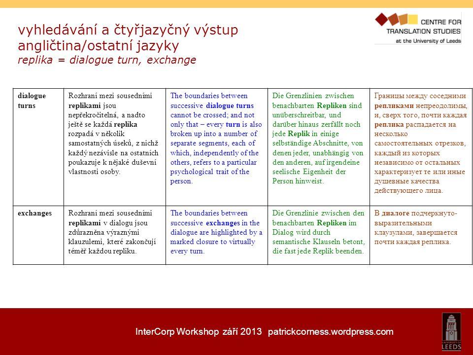 InterCorp Workshop září 2013 patrickcorness.wordpress.com vyhledávání a čtyřjazyčný výstup angličtina/ostatní jazyky replika = dialogue turn, exchange