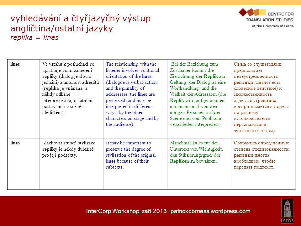 InterCorp Workshop září 2013 patrickcorness.wordpress.com vyhledávání a čtyřjazyčný výstup angličtina/ostatní jazyky replika = lines linesVe vztahu k
