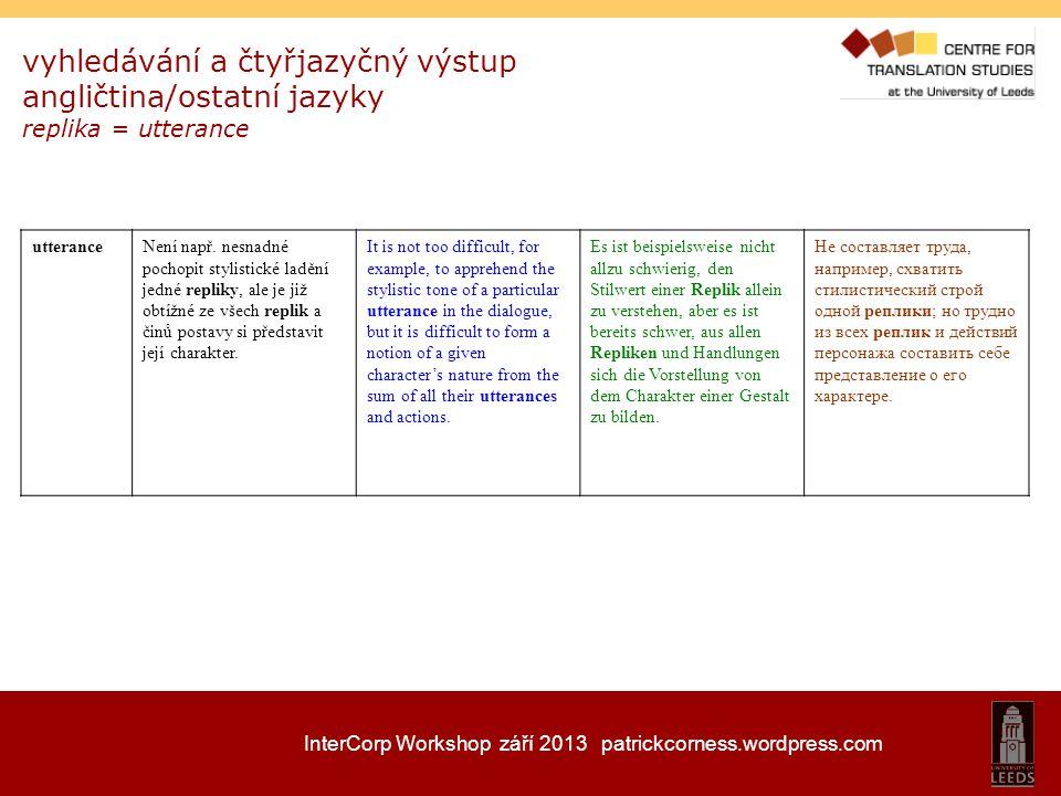 InterCorp Workshop září 2013 patrickcorness.wordpress.com vyhledávání a čtyřjazyčný výstup angličtina/ostatní jazyky replika = utterance utteranceNení