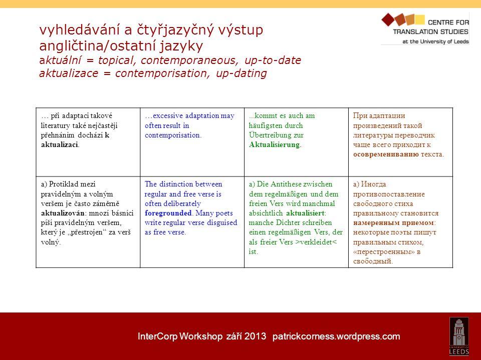 InterCorp Workshop září 2013 patrickcorness.wordpress.com vyhledávání a čtyřjazyčný výstup angličtina/ostatní jazyky aktuální = topical, contemporaneo