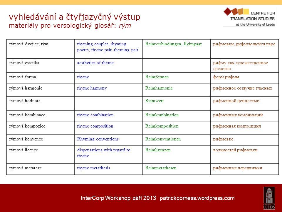 InterCorp Workshop září 2013 patrickcorness.wordpress.com vyhledávání a čtyřjazyčný výstup materiály pro versologický glosář: rým rýmová dvojice, rýmr