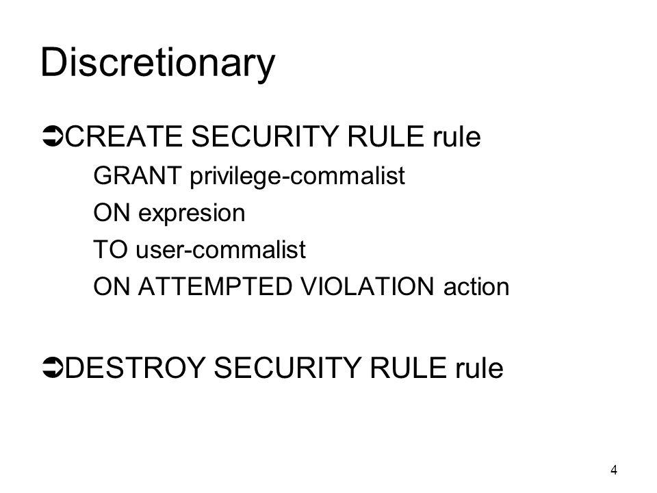 3 Přístupy k bezpečnosti  DISCRETIONARY  filosofie přístupových práv uživatelů  MANDATORY  klasifikační úrovně objektů