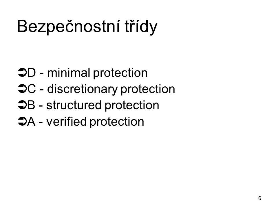 6 Bezpečnostní třídy  D - minimal protection  C - discretionary protection  B - structured protection  A - verified protection