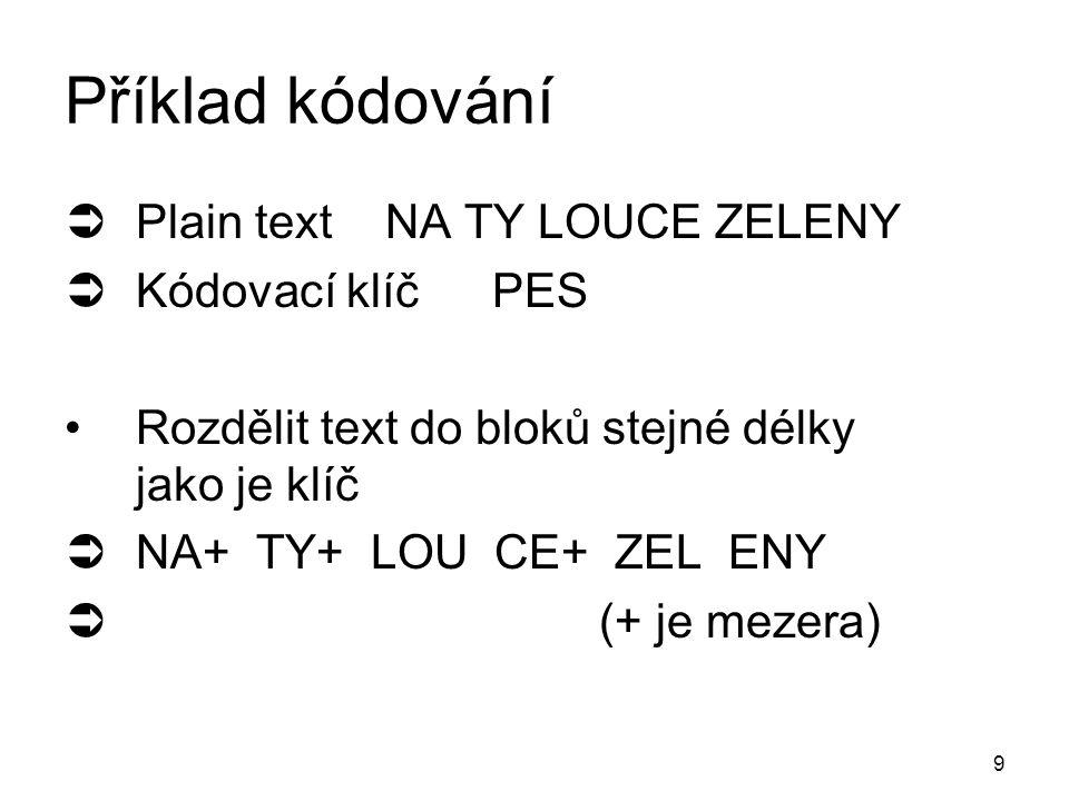 9 Příklad kódování  Plain textNA TY LOUCE ZELENY  Kódovací klíčPES Rozdělit text do bloků stejné délky jako je klíč  NA+ TY+ LOU CE+ ZEL ENY  (+ je mezera)