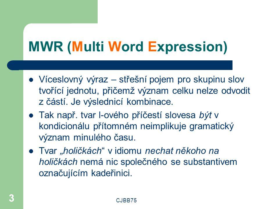 CJBB75 3 MWR (Multi Word Expression) Víceslovný výraz – střešní pojem pro skupinu slov tvořící jednotu, přičemž význam celku nelze odvodit z částí.
