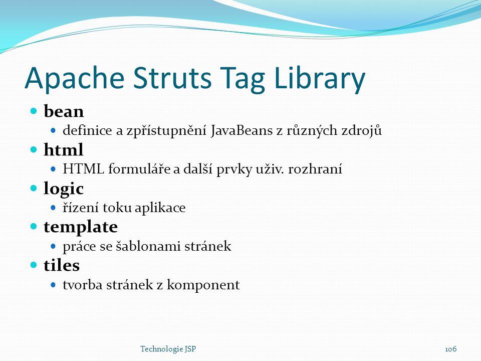 Technologie JSP106 Apache Struts Tag Library bean definice a zpřístupnění JavaBeans z různých zdrojů html HTML formuláře a další prvky uživ. rozhraní