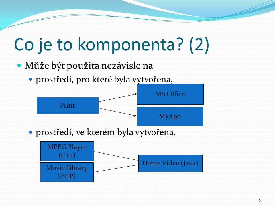 5 Co je to komponenta? (2) Může být použita nezávisle na prostředí, pro které byla vytvořena, prostředí, ve kterém byla vytvořena. MPEG Player (C++) M