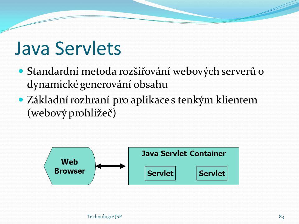 Technologie JSP83 Java Servlets Standardní metoda rozšiřování webových serverů o dynamické generování obsahu Základní rozhraní pro aplikace s tenkým k