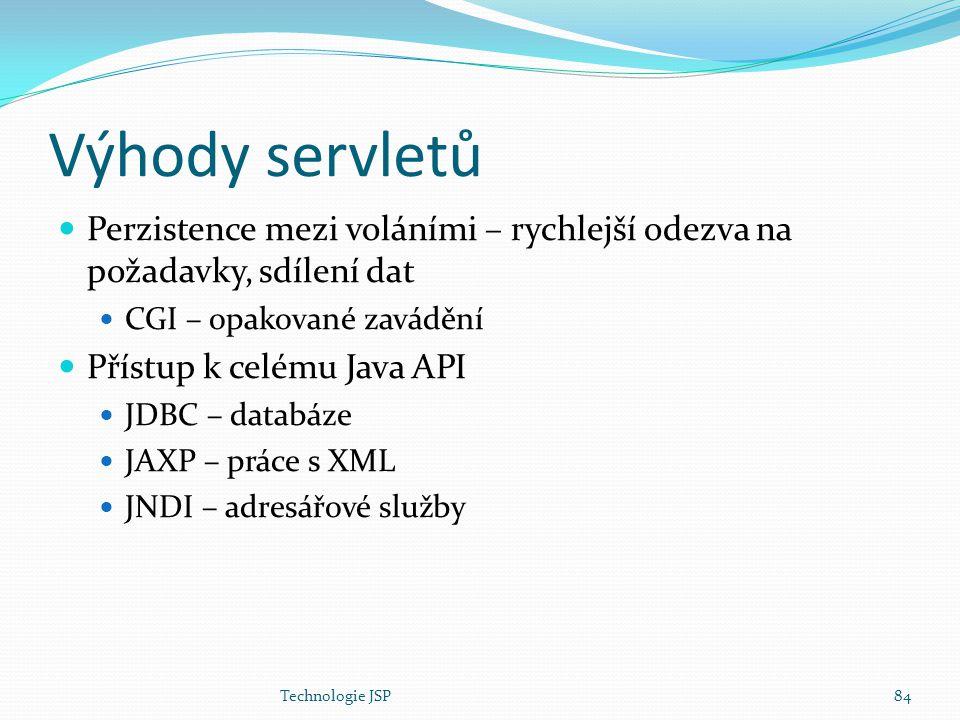 Technologie JSP84 Výhody servletů Perzistence mezi voláními – rychlejší odezva na požadavky, sdílení dat CGI – opakované zavádění Přístup k celému Jav