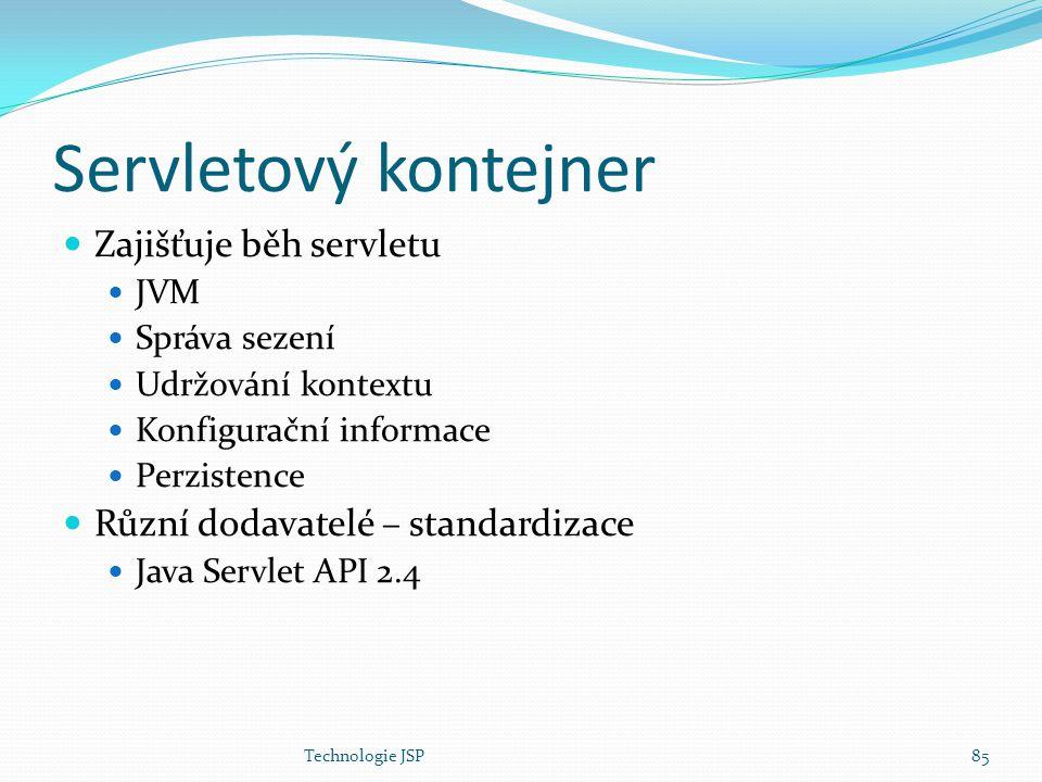 Technologie JSP85 Servletový kontejner Zajišťuje běh servletu JVM Správa sezení Udržování kontextu Konfigurační informace Perzistence Různí dodavatelé