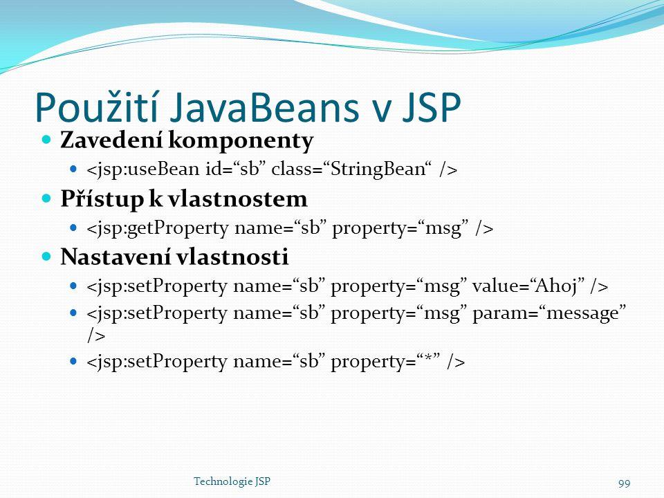 Technologie JSP99 Použití JavaBeans v JSP Zavedení komponenty Přístup k vlastnostem Nastavení vlastnosti