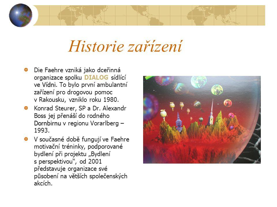 Historie zařízení Vídni Die Faehre vzniká jako dceřinná organizace spolku DIALOG sídlící ve Vídni.