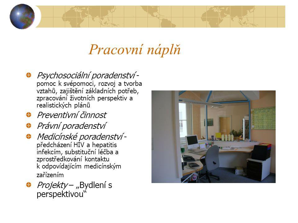 """Pracovní náplň Psychosociální poradenství - pomoc k svépomoci, rozvoj a tvorba vztahů, zajištění základních potřeb, zpracování životních perspektiv a realistických plánů Preventivní činnost Právní poradenství Medicínské poradenství - předcházení HIV a hepatitis infekcím, substituční léčba a zprostředkování kontaktu k odpovídajícím medicínským zařízením Projekty – """"Bydlení s perspektivou"""