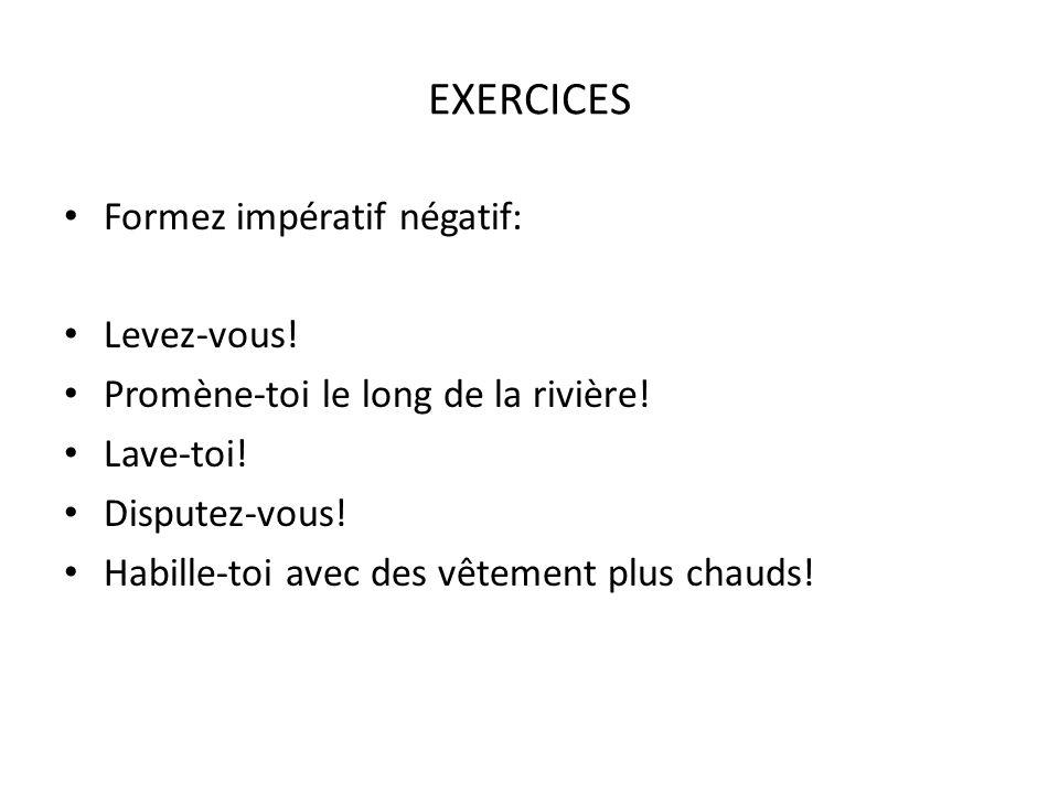 EXERCICES Traduisez: Nezpívej.Nepište propiskou. Nehádejte se.