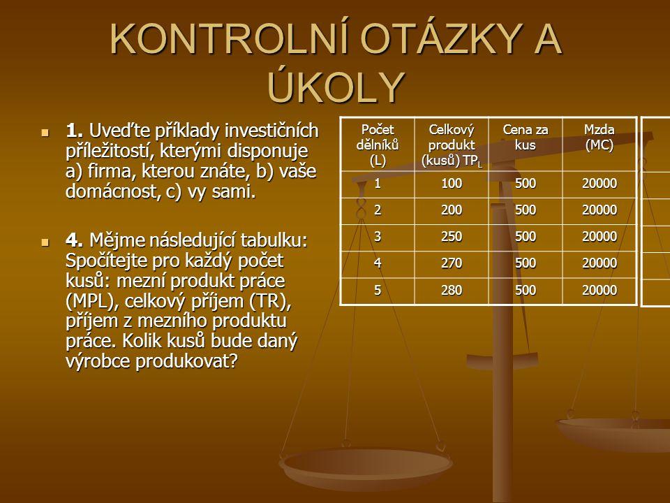 KONTROLNÍ OTÁZKY A ÚKOLY 1.