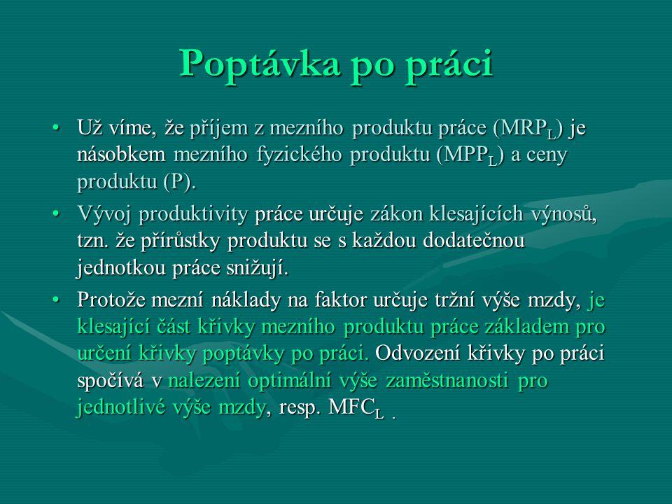 Poptávka po práci Už víme, že příjem z mezního produktu práce (MRP L ) je násobkem mezního fyzického produktu (MPP L ) a ceny produktu (P).Už víme, že